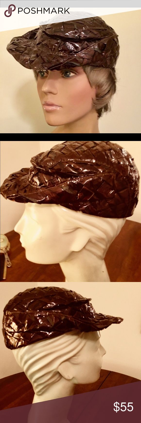 40's Cellophane woven Cap Visor Tilt Hat This is a stylish cap visor tilt hat in chocolate brown from the forties most likely made for casual dress in the day.  It fits neatly on top of the head but it could need reinforcement from a hat pin depending on your hair style. The style of the hat is in keeping with those today!  It is well made and lined in taffeta. Accessories Hats