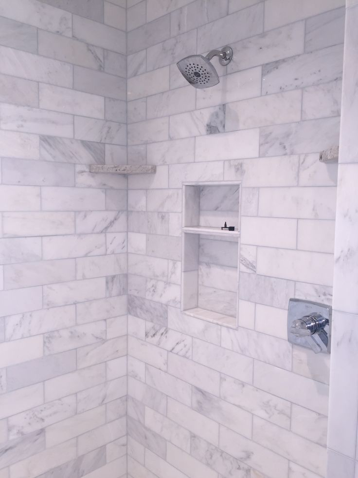 Our shower in the master bath...love it! 4x12 marble