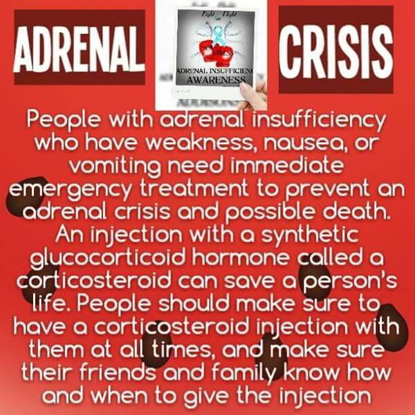 Adrenal Crisis. Inject and call 911.  30 minutes can KILL you. Have an emergency kit of 100mg Solu-Cortef Acto-Vial and at least a 21 or 25 gauge needle. Some emts and paramedics won't look at your medical id and have no clue as to what a crisis is or what adrenal insufficiency is. Each person presents differently. Be prepared. Take your kit with you. Take extra meds with you. Have a family member or friend give you the injection and be your advocate if you are unable.