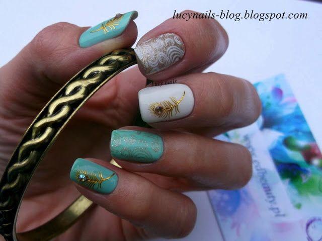 Pawie piórka naklejki wodne EDbeauty -Profesjonale ozdoby do paznokci