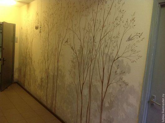 Декор поверхностей ручной работы. Ярмарка Мастеров - ручная работа. Купить Роспись стен в коридоре Лес. Handmade. Коричневый