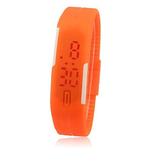 START Mens&Womens Rubber LED Ultra Thin Sports Digital Wrist Watch-Orange