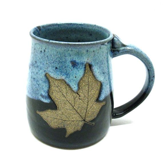 Stoneware Pottery Mug with Leaf by CrookedCreekStudio1 on Etsy, $20.00