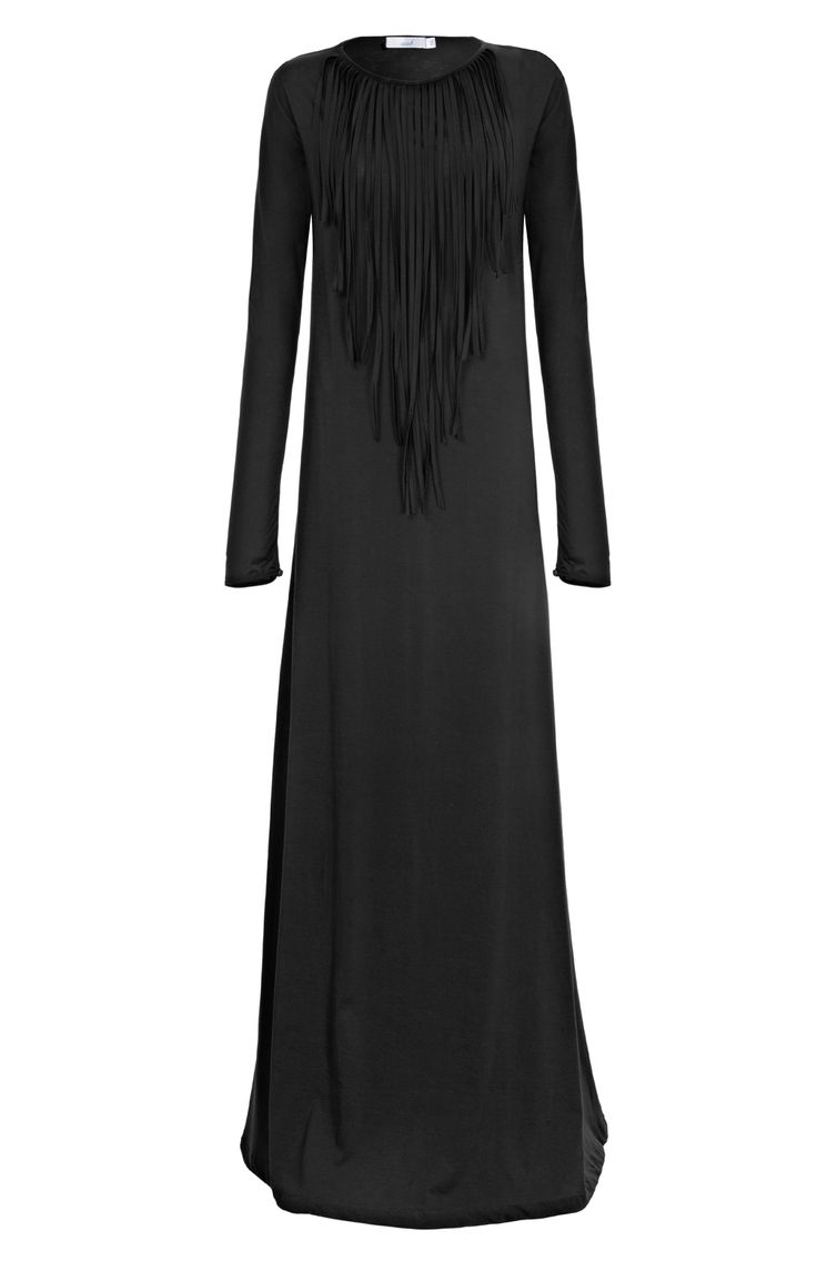 Aab UK Fringe Factor Black Abaya : Standard view