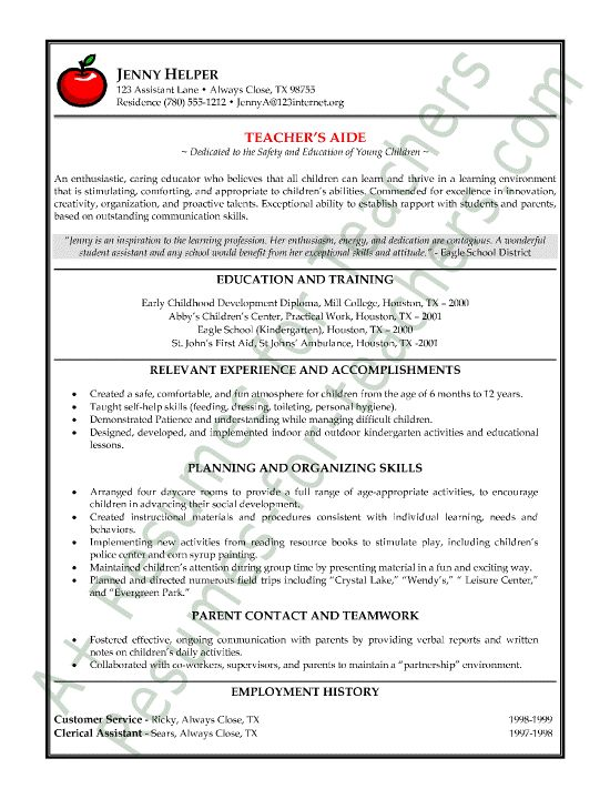 Teacher\u0027s Aide or Assistant Resume Sample or CV Example Healthy me