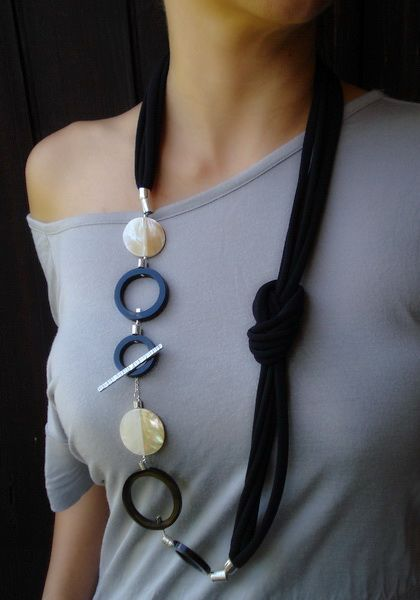 Handmade Long Necklace,, statement necklace, mottherof pearls, buffalo horn…