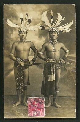 Indonesia ~ Dayak Warriors rppc Kuching Malaysia Sarawak stamp 1921 | eBay