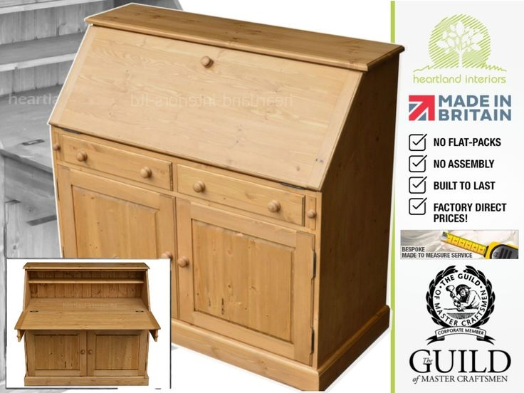 solid wood office desk. Solid Pine 115cm Wide Laptop Writing Bureau Desk, Made To Measure Office Furniture Wood Desk