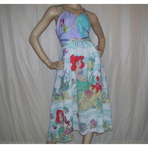 Ariel Mermaid Sundress Ooak Upcycled Adult Geek Mom Party Sundress Disney Dress Adult S M L Xl Resor