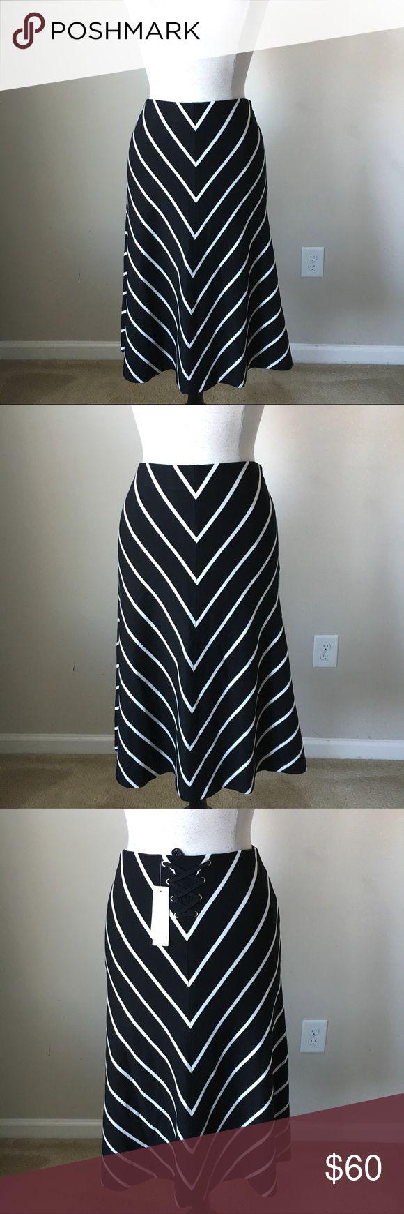 Chevron striped A-line ponte midi skirt -Fully lined -Shell: 68% Rayon, 27% Nylon, 5% Spandex White House Black Market Skirts A-Line or Full