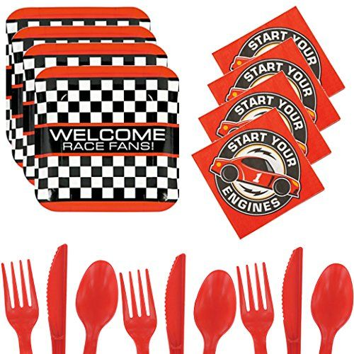 SNACK TIME: Fantastic cutlery and extras to create the right atmosphere. Race Car Party Supplies For 16 - Racing Themed Start Your...