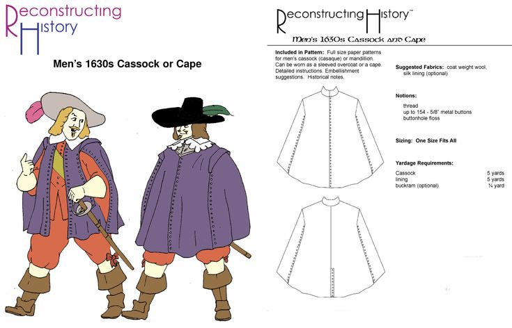 1630's Men's Cassock and Cape Pattern