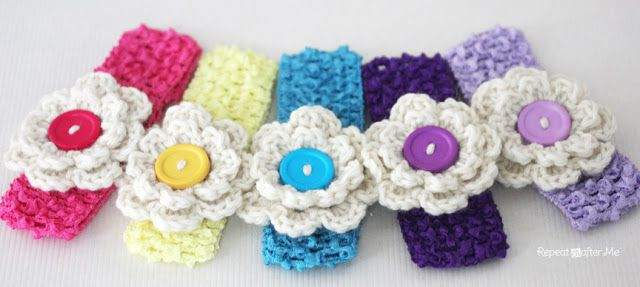 Crochet Hair Clip Pattern : Repeat Crafter Me: Crochet Hair Clips ?CQ #crochet #crafts #DIY ...
