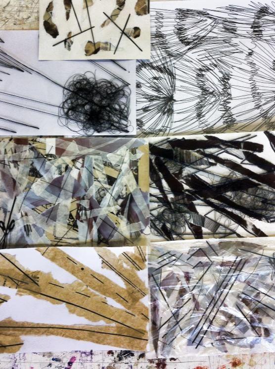 textiles collages