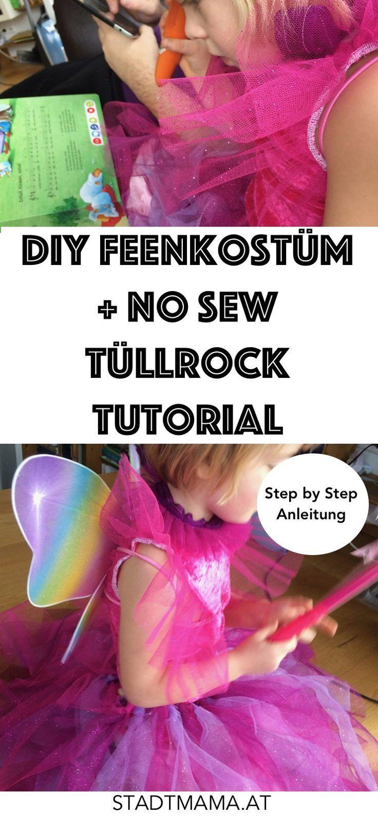 DIY Feenkostüm für Faching, Carneval und Halloween inklusive Tutorial. Tüllrock ohne Nähen: No Sew Rock aus Tüll für kleine Prinzessinnen.