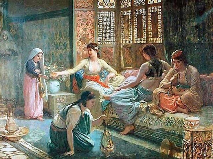 """Interior of a Harem"" by Leon Belly (French Painter 1827-1877)"