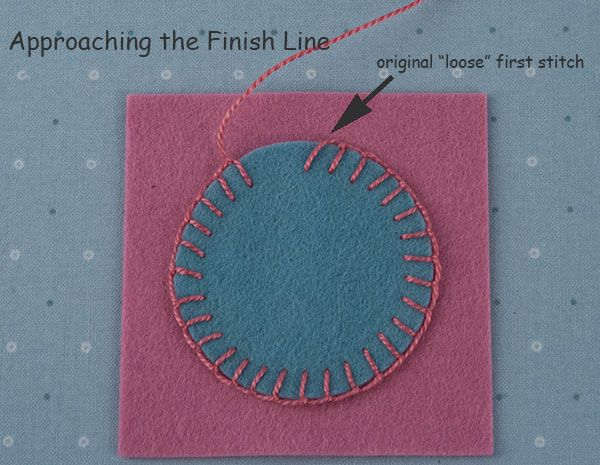 In this lesson you will learn:  How to appliqué a curved shape to your background, from beginning to end,  using the blanket stitch. I am using a circle and am going to stitch all  the way around.