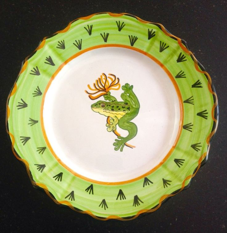 DERUTA ceramic salad plate FROG & SALAMANDER hand painted ...