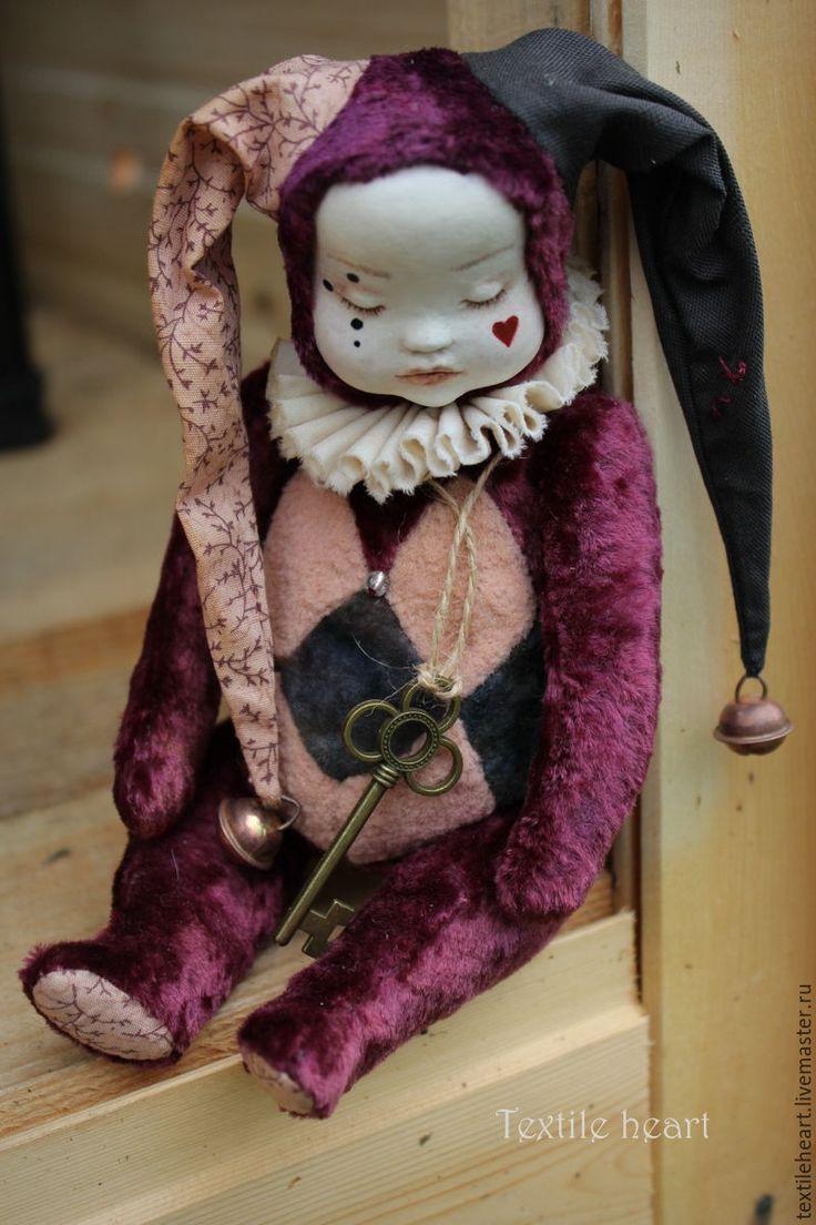 Купить Сонный шут... - бордовый, шут, кукла шут, шуты, клоун, клоуны, клоун кукла