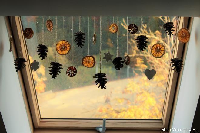 Осеннее украшение для окна. Гирлянда из природных материалов (10) (660x440, 141Kb)