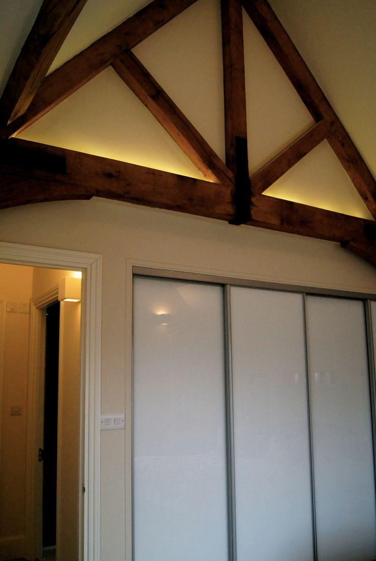 Warm White Led Tape On Top Of Feature Oak Beams Living
