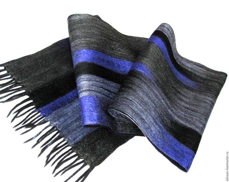 """Купить Новинка!!! """"Анданте"""" шарф мужской валяный - в полоску, шарф, шарф мужской, шарф валяный"""