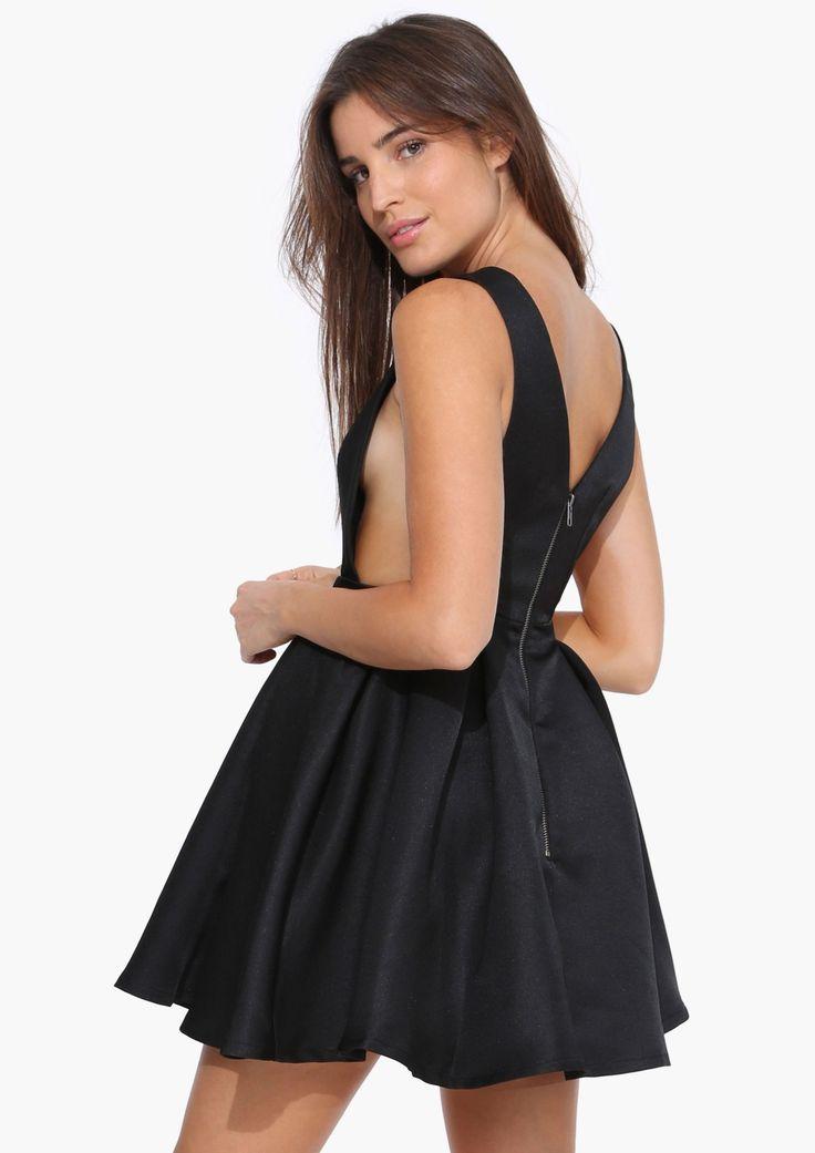 Black Sleeveless Backless Flare Dress