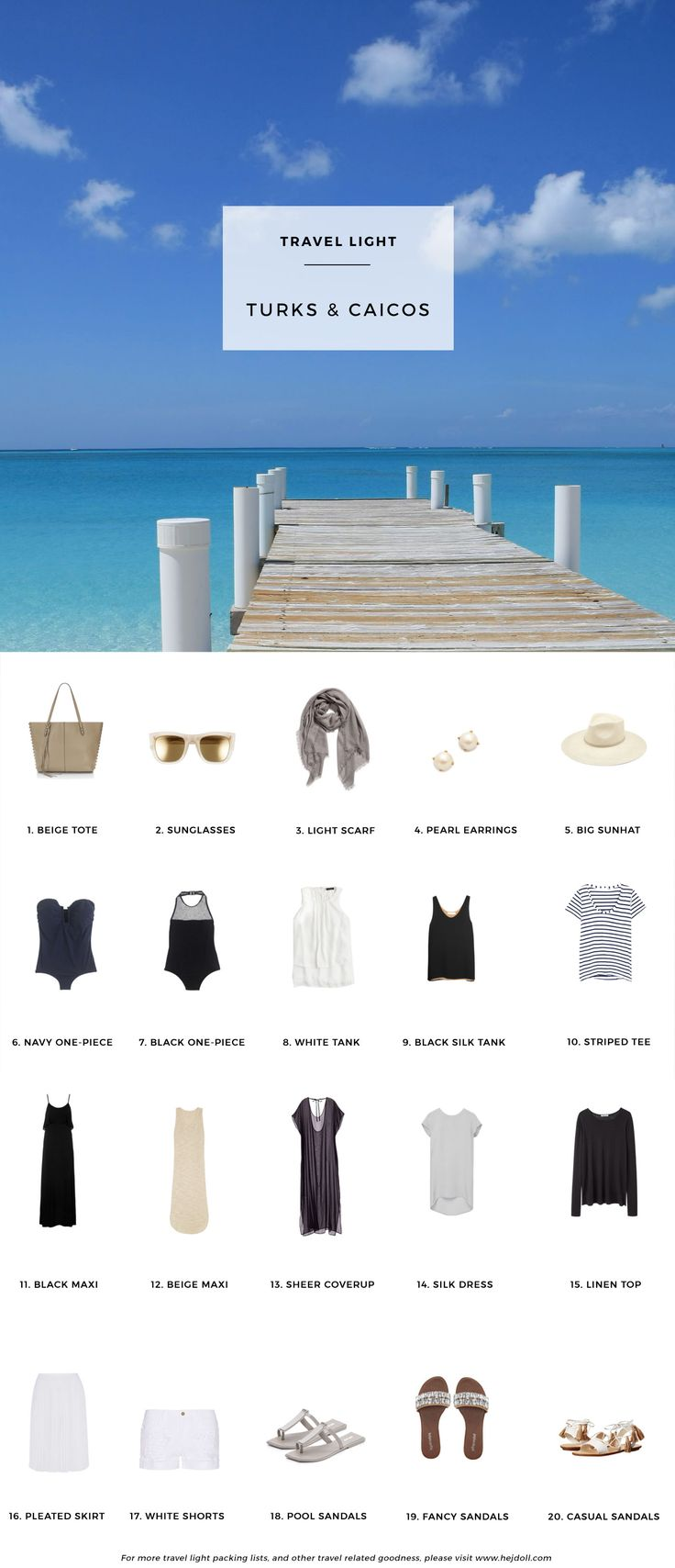What to pack for Turks and Caicos in the Caribbean. 20 items, 10+ days/outfits, 1 carry on suitcase. #travellight #packingtips #traveltips