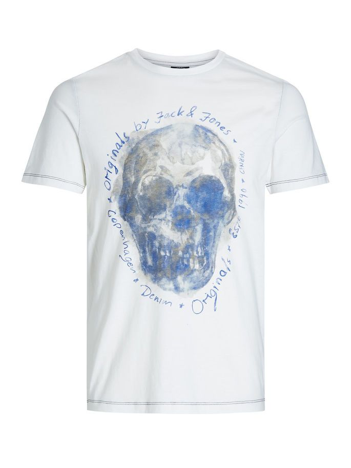 Graphic skull tee, slim fit made from comfortable cotton - perfect for a cool urban style, just let the graphics do the talking | JACK & JONES #skull #urban #style #menswear #tee #white #blue