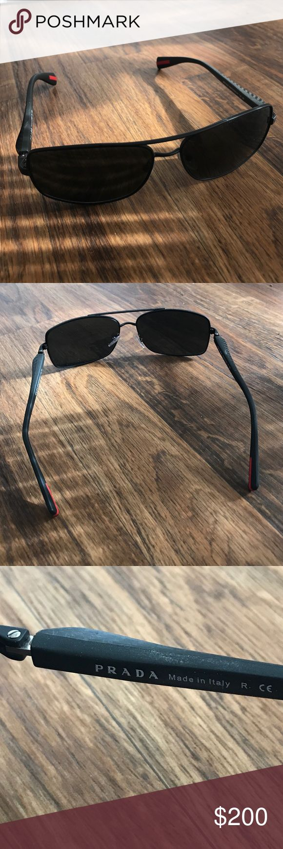 Prada men's sport sunglasses Very sporty men's Prada sunglasses. Hardly worn. Great comfortable fit. Snug and full coverage of shade. Price is negotiable! Offer up! Prada Accessories Sunglasses