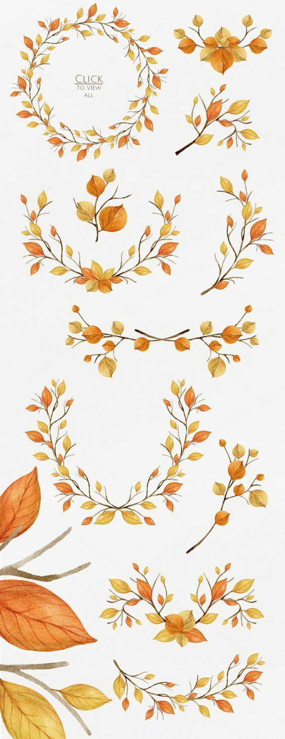 Warm Autumn. Watercolor DIY Pack by NataliVA on Creative Market: