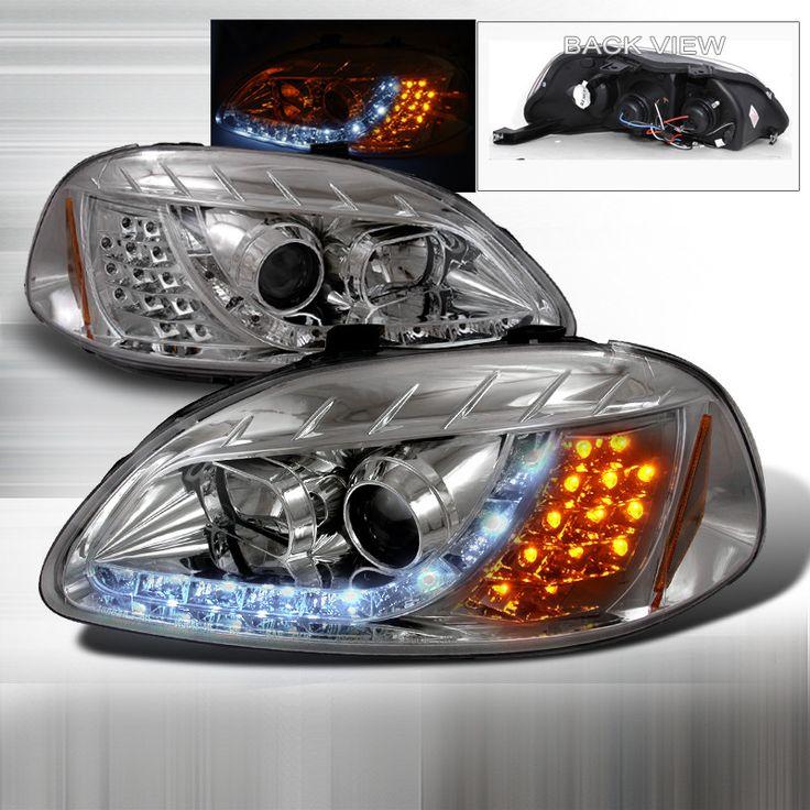 96-98 Honda Civic Chrome Projector Headlight with LED Signal