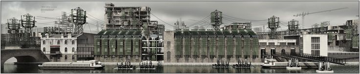 Amazing industrial architectural rendering. Nice subtle use of colors.