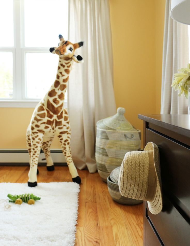We keep seeing this over-sized giraffe popping up in nurseries... and we love it! (It's from @Melissa & Doug Toys) #nursery #nurserydecorBaby Boy