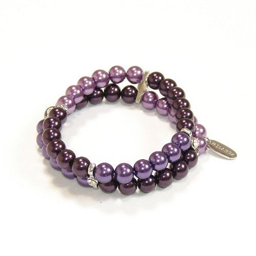 "8mm 2 Rows Hand-knotted Glass Pearl Bracelet Purple Multi Mikassa. $2.99. Hand-Knotted. 8mm = 0.32"". Including a gift box. Save 66%!"
