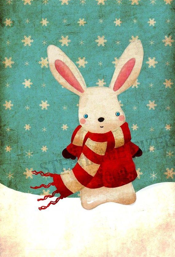 snow bunny illustration