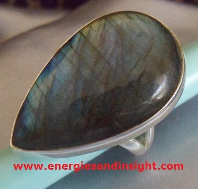 * BLUE LABRADORITE RING * * Sterling Silver * * Size 8 1/2 *