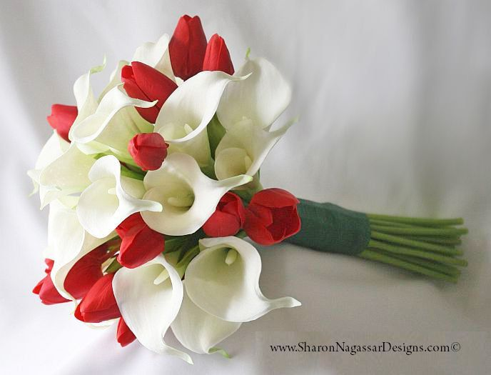 Red Tulips And White Off White Ivory Calla Lilies Bouquet Real