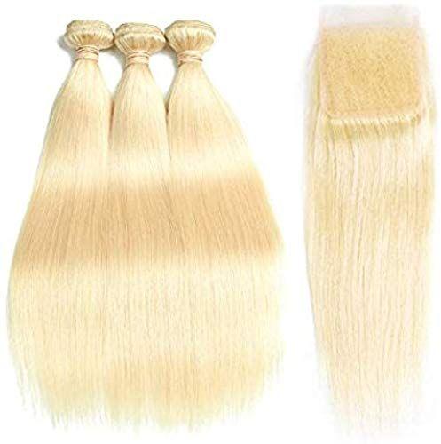 Best Seller Allrun Hair Straight Human Hair 613 Blonde Hair 3 Bundles With Closure Free Part Grade 7A Brazilian Human Hair Double Weft Bleached Blonde Hair(20 22 24+18Lace Closure) online