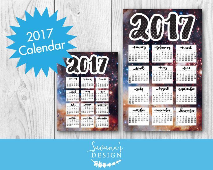 Space Calendar, 2017 monthly calendar printable, year 2017 calendar, 2017 calendar poster, 2017 year calendar, 2017 printable wall calendar by SavanasDesign on Etsy