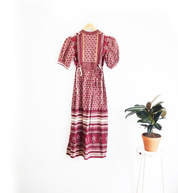 1970s Boho Floral lace up Paisley Midi Dress XS/S by TheWanderly