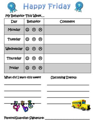 Weekly Behavior Report for Parents from Klever Kiddos on TeachersNotebook.com (12 pages)