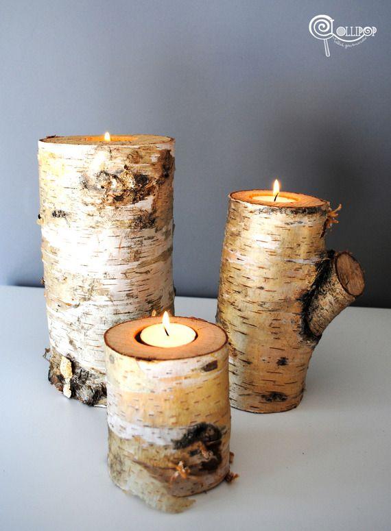 Lot de 3 portes bougies en bois de bouleau et sa bougie for Porte bougie en bois