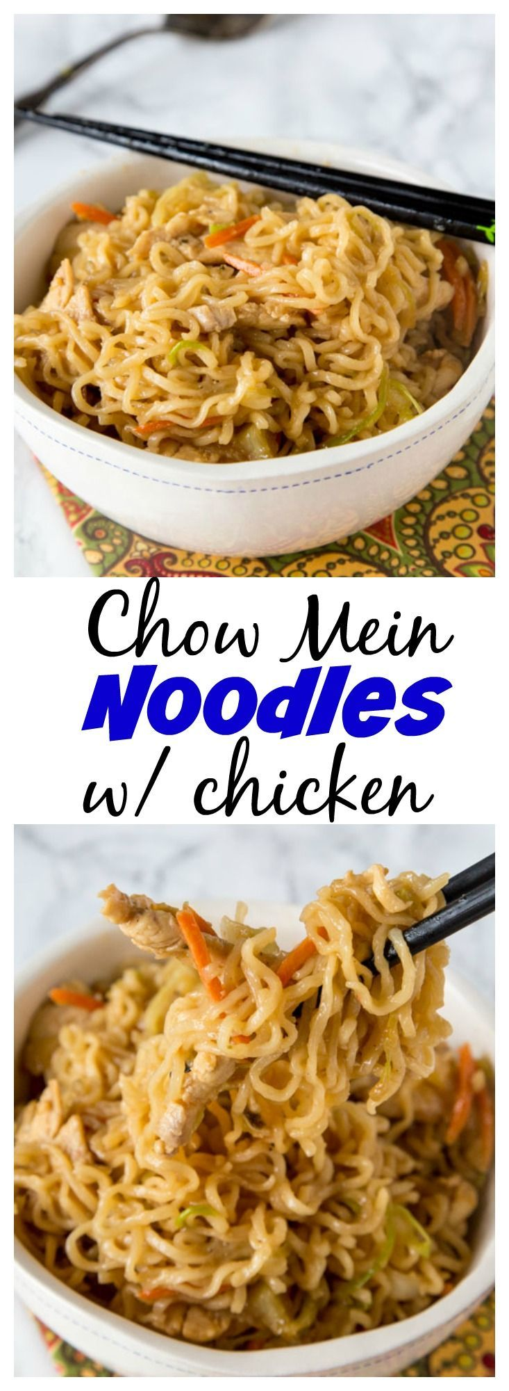 Chow Mein Noodles with Chicken is an easy recipe to get dinner on the table in minutes.  So much better than take out in the same amount of time!