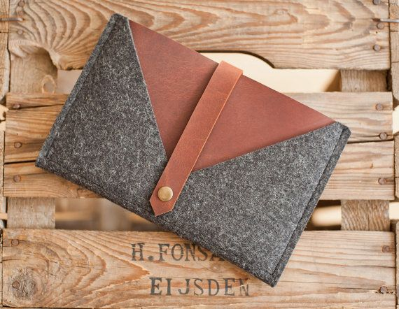 iPad mini Case Rough Edge  leather wool felt by TheNavis on Etsy