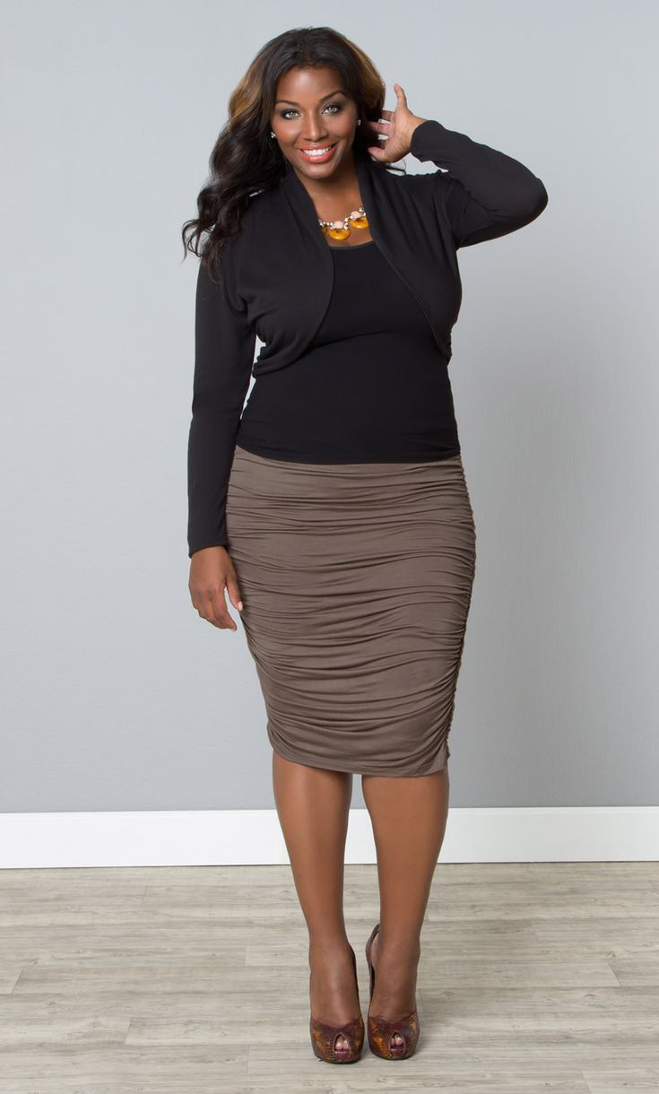 Pair our plus size Key Note Shrug with a cami and pencil skirt for a chilly office.  www.kiyonna.com  #KiyonnaPlusYou  #MadeintheUSA  #WorkAttire