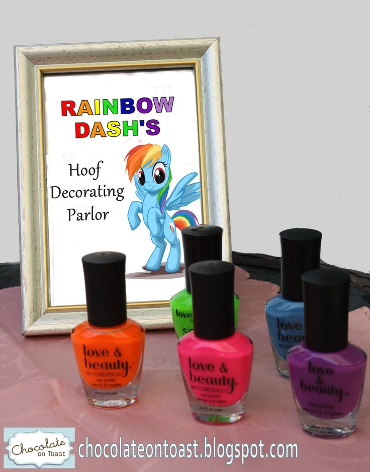 Rainbow manicure for a Rainbow Dash. My Little Pony birthday party. really