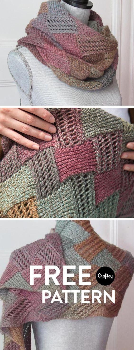 This is a fun and simple entrelac scarf that knits up quickly and is great for cool fall and spring weather. Get the pattern for free at Craftsy!