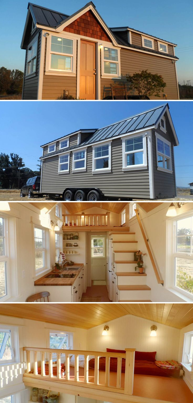 A 24' tiny house with a butcher block counter, a full height refrigerator, Tansu stairs with lots of drawers, and room for a daybed on the main floor.