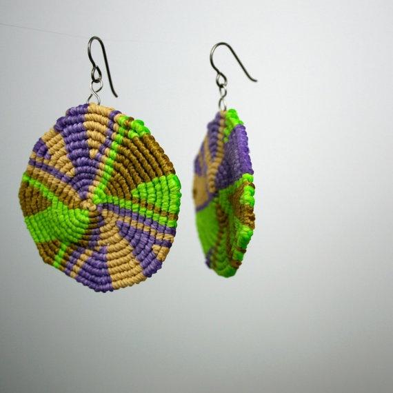 lime lavender gold spiral macrame earrings
